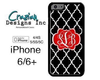 iPhone 6 Case - Monogram iPhone 6 Plus Case - iPhone 5S Case - Black RedLattice iPhone 4 Case - iPhone 5C Case - Personalized iPhone Case