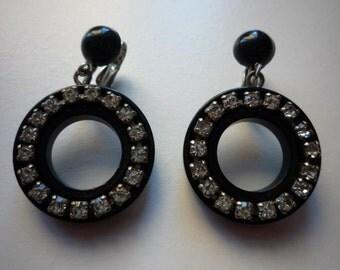Vintage Black Lucite Clear Rhinestone Hoop Clip On Earrings