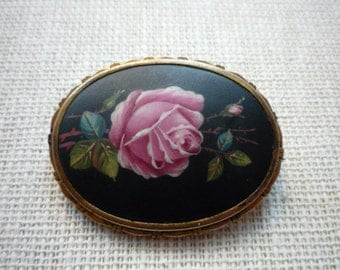 Antique Victorian Hand Painted Enamel GF Rose Oval Brooch Pin