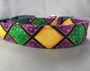 Color Block Mardi Gras Dog Collar