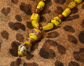 Yellow and Copper Glass Bead Necklace