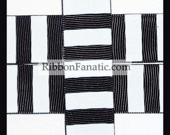 "5 yds 7/8"" Black and White Candy Stripe Grosgrain Ribbon"