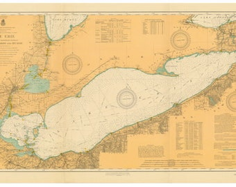 Lake Erie 1910 Nautical Map Reprint - Great Lakes 003