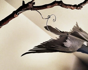 Two Birds in the Tree. Kinetic Art. Mobile Sculpture.