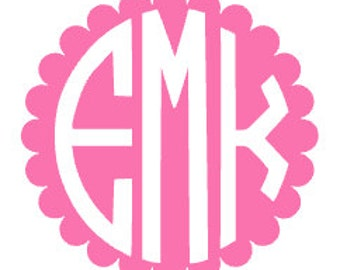 Scalloped Vinyl Monogram Decal