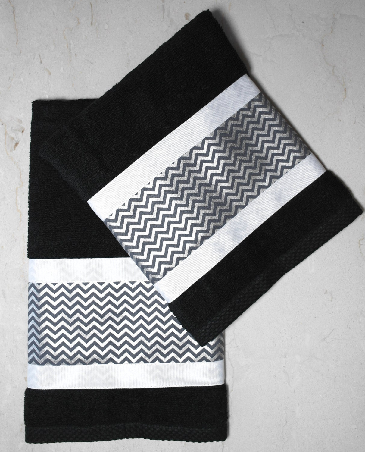 Bath Towel Sets Black And White: Custom Bathroom Collection Black 2pc Cotton Hand Towel Set