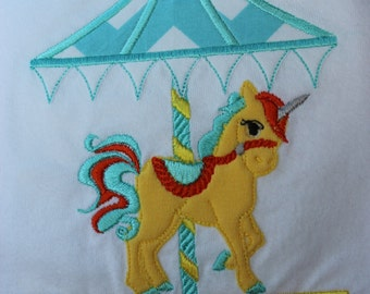 Unicorn Carousel Applique