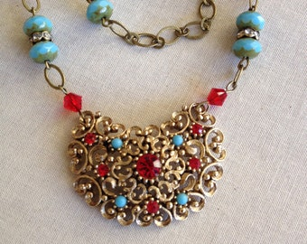 Turquoise and Siam red crescent necklace, repurposed, vintage, assemblage, gold, rustic country barn wedding, upcycle recycle repurpose