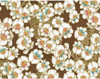 HALF YARD CHERRY Blossom Quilting Cotton - Birds and Blossoms - Cherry Blossom Brown Gold