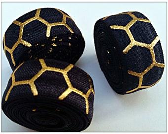 5/8 BLACK Honeycomb Fold Over Elastic