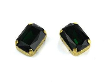 Emerald Rhinestones, 14x10mm Octagon Crystal, AAA-Class Crystal Rhinestones with Sew on settings, O14X10C123