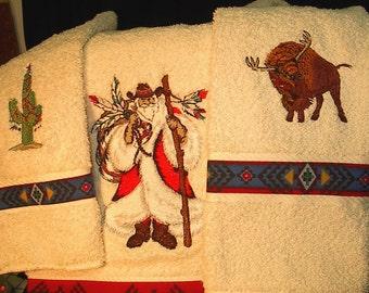Southwest Santa towel set