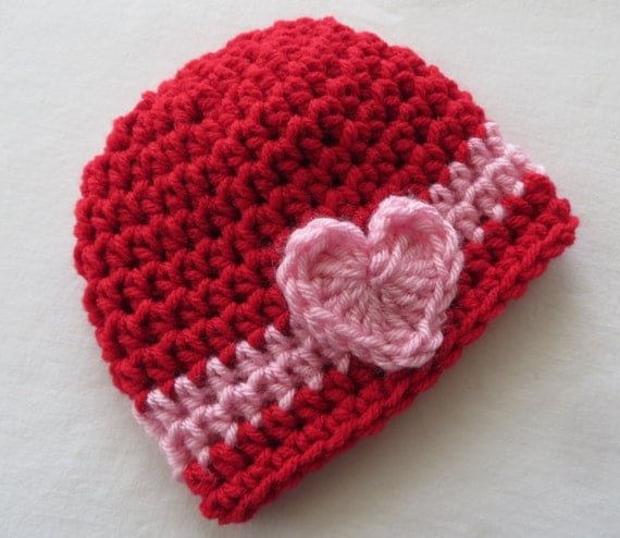 Crochet Valentine Hat : RED VALENTINES Hat Crochet Hat, HEARTS, Baby Girl, Valentines Day ...