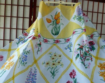 Vintage Spring Flowers Print Fabric Shower Curtain New