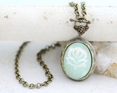 Mint  Blue Peony Photo Locket Necklace Antique Vintage Style Jewelry, Fortune Inspirational Locket Pendant, Personalized Birthday Gift