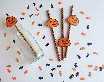 25 Cannucce di carta di Halloween con tag zucca  / Halloween Paper Straws With Pumpkin Tags Set of 25