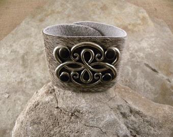 Rustic Southwestern Leather Cowhide Silver Wrap Cuff Bracelet