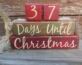 Vintage Christmas Countdown Blocks Advent Green Red
