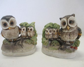 Vintage Ceramic Owl Figurines Set of 2 Homco Owl Bird Figurines