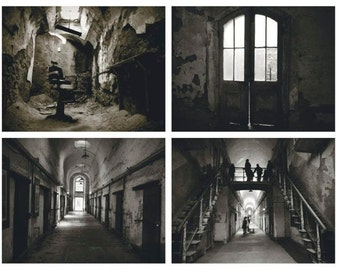 Eastern State Penitentiary Photographs Set - Philadelphia - Abandoned Cell  - Architecture - Historic  -  Creepy - Crumbling - Light - Hope