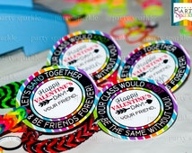 """INSTANT DOWNLOAD - Valentine's Day Rainbow Loom Band 2"""" Circle Tags -  Digital pdf file"""