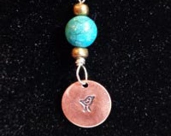 Pendant - Howlite and Copper beads with Stamped Copper Bird Pendant - FREE SHIPPING