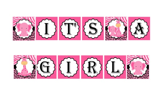 Pink Safari Itu0027s A Girl Banner, Baby Shower Party Favors, Instant Download    Digital File
