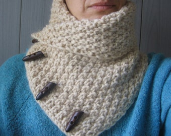 Beige Chunky Merino Wool Knitted Scarf. Gift Idea. Christmas Gift. Ready to Ship. Free Shipping