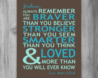 Graduation Gift Son Personalized Gift Always Remember You Are Braver You Are Loved Print Canvas Quote Inspirational Boy Girl Parent Gift