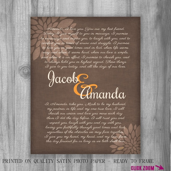 Personalized Wedding Vows Gift Your CUSTOM WORDS Print Names Date ...