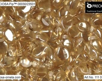 50pcs PIP Beads 7x5mm Pressed Czech Glass, Crystal Honey (PP042)