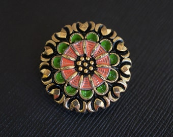 Czech Glass Button, hand painted, Black, size 12, 27mm, 1pc (BUT214/12)