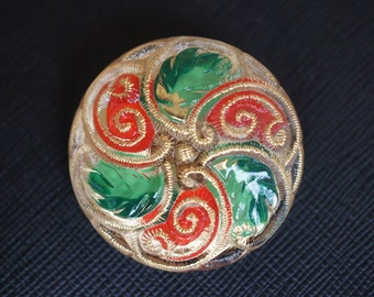 Czech Glass Button, Hand painted, size 16'', 36mm, 1pc(BUT306/16)