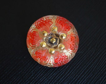 Czech Glass Button, hand painted, size 10, 22.5mm, 1pc ( BUT145/10)