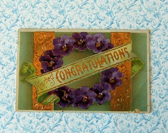 Vintage Heartiest Congratulations Postcard,Purple Pansies on Green. Glossy, Heavily Embossed, with Lots of Gold Detailing.