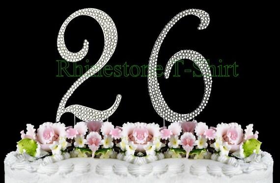 26th Wedding Anniversary Gift: New Large Rhinestone NUMBER 26 Cake Topper 26th Birthday