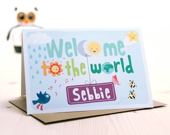 New Baby Card // Personalised New Baby Card // Welcome to the world // New Baby Card Boy // New Baby Card Girl // New Baby Gift