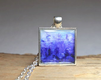 Indigo Blue Pendant Necklace Modern Abstract Art Pendant Square Resin Jewelry Wearable Art Throat Chakra colors Blue Jewelry