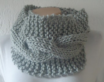 Gray cable knit infinity scarf snood,chunky cableknit scarf,cableknit grey snood,gray knitted snood cowl,knit valentines day snood cowl