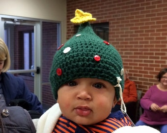 Crocheted Hat - Christmas Tree