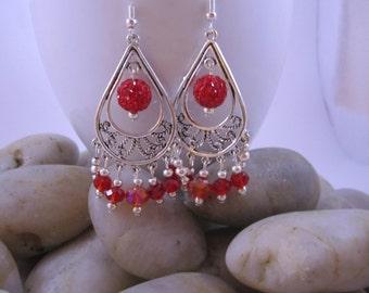 Elegant Chandelier Earrings - Red