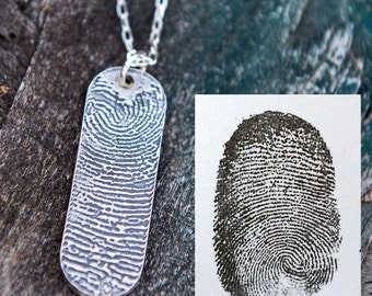 Fingerprint Necklace, Fingerprint Jewelry - Silver Fingerprint Pendant using an ink print - Memorial fingerprint jewelry