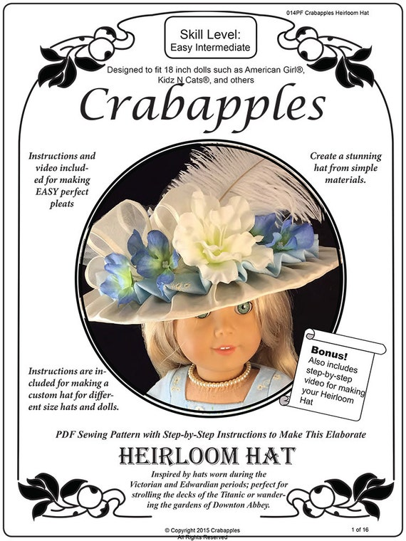 Pixie Faire Crabapples Heirloom Hat Doll Clothes Pattern for 18 inch American Girl Dolls - PDF