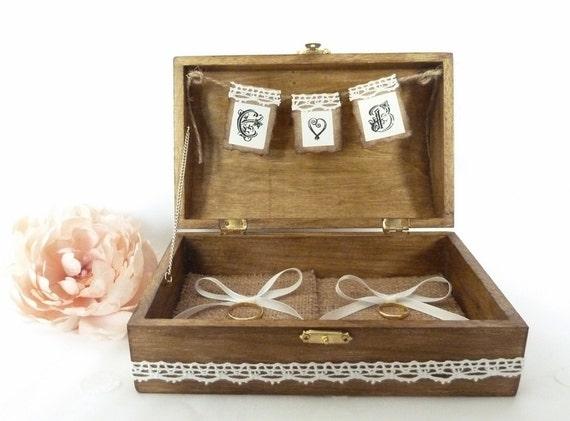 Wedding ring box rustic ring bearer box custom by for Custom engagement ring box