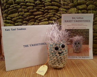 Crocheted Original HAIRY Yarnstones Amigurumi with Birth Certificate
