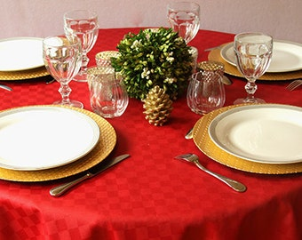 Round Bistro 42 To 63 Inches Table Cloth Provencal Carla In Red Or Custom  Made Your