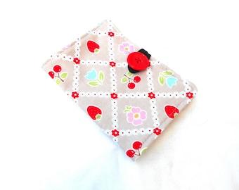 Strawberries and Cherries Tea Wallet - Kawaii Gray Tea Bag Wallet
