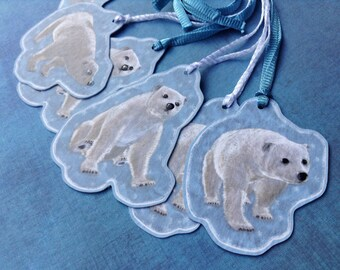 6 light blue white animal gift tags, polar bear shape cut from firm card stock, 3 different shapes with ribbons, hand crafted name labels