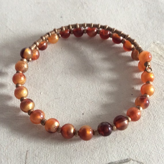 Ethical Boho Bracelet In Amber & Gold