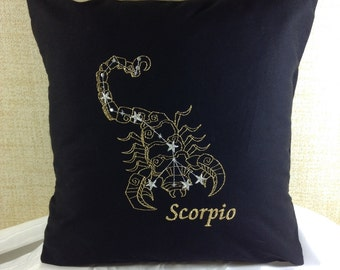 Scorpio Zodiac Sign - The Scorpion, 16 x 16 Pillow Cover, October 23 - November 21, Embroidered, Metallic Thread